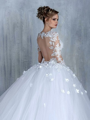 Empire Wedding Dresses With Sleeves Heart Tulle White Wedding Gowns With Lace Bridal_2