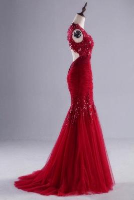 Modern Rote Abendkleider Lang Mit Spitze Tüll Abendmoden Günstig_2