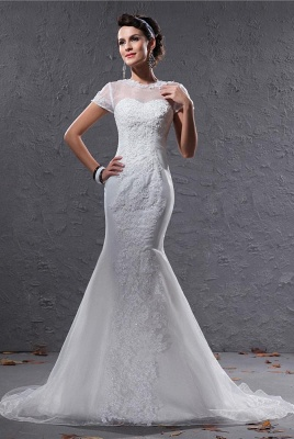 White Wedding Dresses With Sleeves Lace Mermaid Organza Wedding Gowns_1