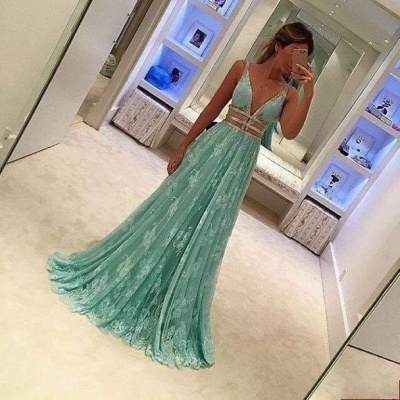 Green Long Prom Dresses Lace Beaded V Neck Floor Length Evening Wear_2