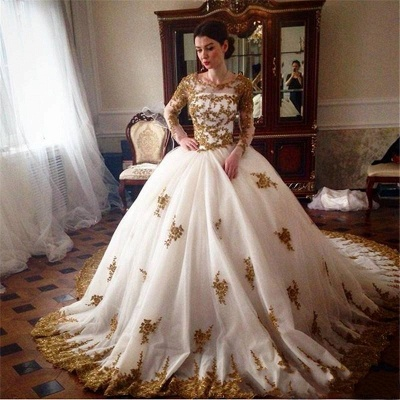 Designer Wedding Dress With Lace Sleeves Princess Tulle Bridal Gowns Vintage Online_2