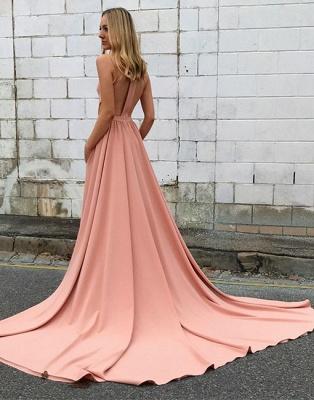 Rosa Abendkleider Lang Neckholder A Linie Abenbiballkleider Abendmoden Online_2