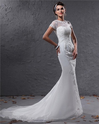 White Wedding Dresses With Sleeves Lace Mermaid Organza Wedding Gowns_2