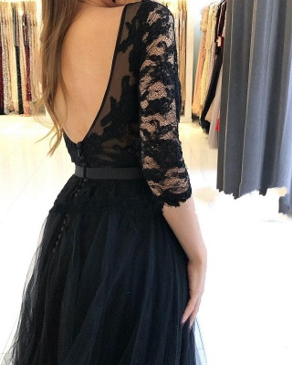 Fashion Evening Dresses Long Black | Prom dresses with sleeves_2