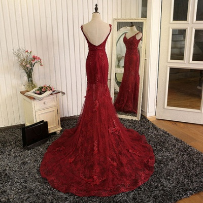 Wine red evening dresses long cheap lace mermaid prom dresses evening wear online_3