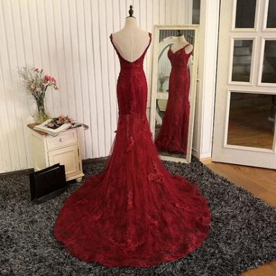Weinrot Abendkleider Lang Günstig Spitze Meerjungfrau Abiballkleider Abendmoden Online_3