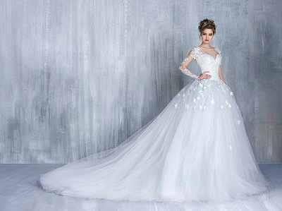 Empire Wedding Dresses With Sleeves Heart Tulle White Wedding Gowns With Lace Bridal_3