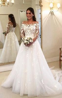 Elegante Brautkleider A Linie Mit Ärmel | Günstige Hochzeitskleider mit Spitze_1