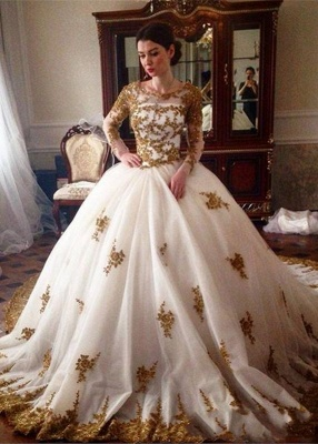 Designer Wedding Dress With Lace Sleeves Princess Tulle Bridal Gowns Vintage Online_1