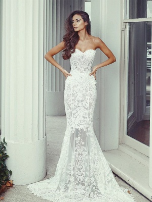 Chic White Wedding Dresses Lace Beaded Mermaid Bridal Wedding Dresses_3