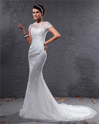 White Wedding Dresses With Sleeves Lace Mermaid Organza Wedding Gowns_3