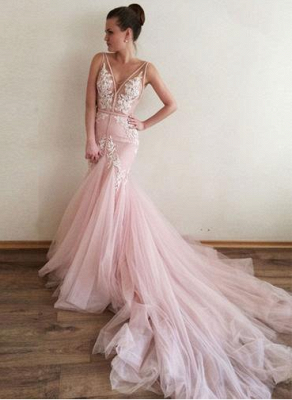 Pink Wedding Dresses With Spize Mermaid Tulle Wedding Gowns Online_1