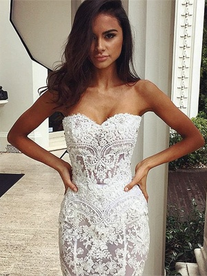 Chic White Wedding Dresses Lace Beaded Mermaid Bridal Wedding Dresses_2