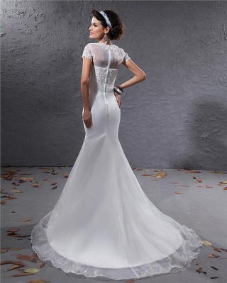 White Wedding Dresses With Sleeves Lace Mermaid Organza Wedding Gowns_5