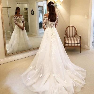 Elegante Brautkleider A Linie Mit Ärmel | Günstige Hochzeitskleider mit Spitze_4
