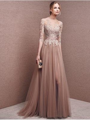 Champagne Abendkleider Lang Ärmel mit Spitze Abendmoden Abiballkleider