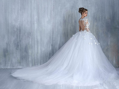 Empire Wedding Dresses With Sleeves Heart Tulle White Wedding Gowns With Lace Bridal_4