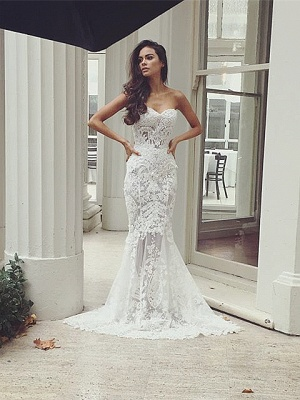 Chic White Wedding Dresses Lace Beaded Mermaid Bridal Wedding Dresses_1