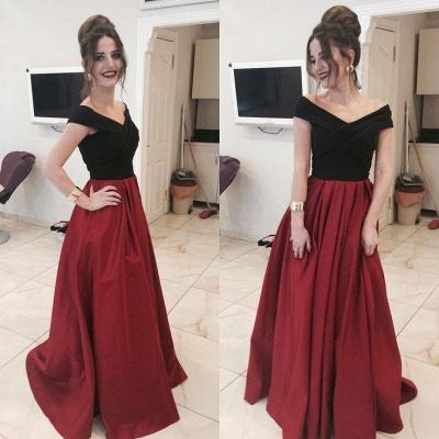 Black Red Evening Dresses Long Cheap A Line Taffeta Prom Dresses Evening Wear_2
