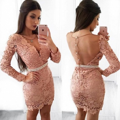 Chic Black Cocktail Dresses Short With Sleeves Lace Mini Evening Dresses Cheap_3
