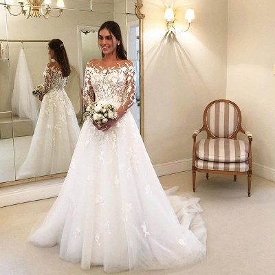 Elegante Brautkleider A Linie Mit Ärmel | Günstige Hochzeitskleider mit Spitze_2