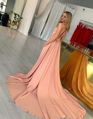 Rosa Abendkleider Lang Neckholder A Linie Abenbiballkleider Abendmoden Online_3