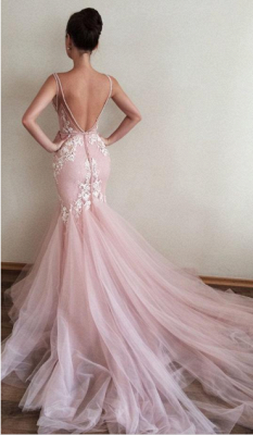 Pink Wedding Dresses With Spize Mermaid Tulle Wedding Gowns Online_2