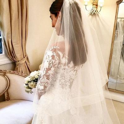 Elegante Brautkleider A Linie Mit Ärmel | Günstige Hochzeitskleider mit Spitze_3