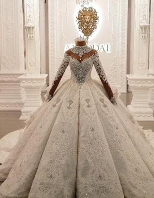 Luxus Brautkleider Mit Ärmel | Hochzeitskleider Prinzessin mit Schleppe_4