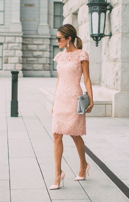 Pink Cocktail Dresses Short With Sleeves Sheath Dress Party Dresses Prom Dresses_1