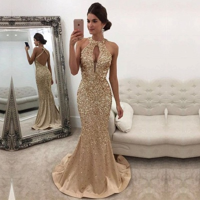 Gold Prom Dresses Long Cheap Crystal Halter Satin Evening Dresses Party Dresses_2