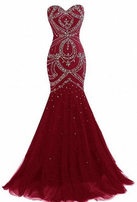 Wine Red Long Evening Dresses Beaded Mermaid Tulle Evening Wear Prom Dresses_1
