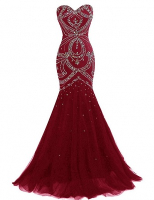 Wine Red Long Evening Dresses Beaded Mermaid Tulle Evening Wear Prom Dresses_2