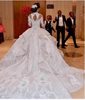 Luxus Brautkleider Mit Ärmel | Hochzeitskleider Prinzessin mit Schleppe_2
