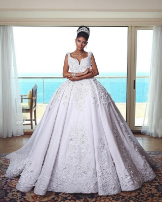 Luxury white wedding dresses with lace princess wedding dresses online_1