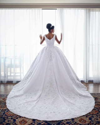 Luxury white wedding dresses with lace princess wedding dresses online_2