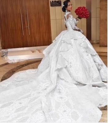 Luxus Brautkleider Mit Ärmel | Hochzeitskleider Prinzessin mit Schleppe_3