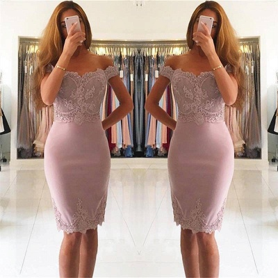 Simple Cocktail Dresses Short With Lace Mini Prom Dresses Prom Dresses_2