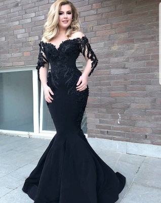Designer evening dress with sleeves | Black Evening Dresses Long Cheap_1