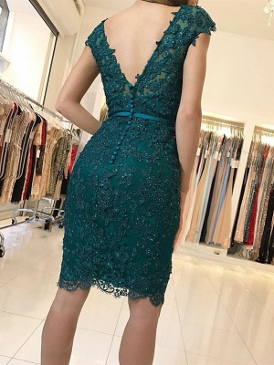 Elegant Green Cocktail Dresses Short | Evening dresses with lace_2