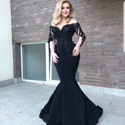 Designer evening dress with sleeves | Black Evening Dresses Long Cheap_3