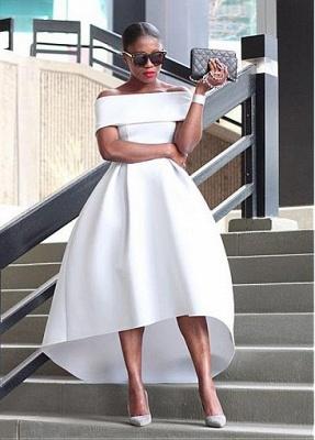 Schlichte Brautkleider Kurz A Linie Weiße Hochzeitskleider Günstig Online_1