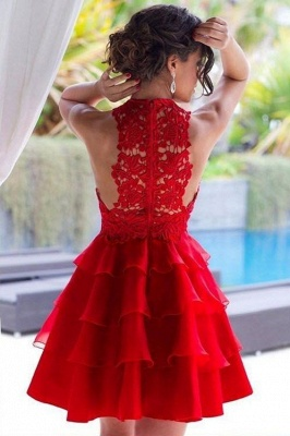 Cheap Party Dresses Cocktail Dresses Short Red With Lace A Line Prom Dresses_3