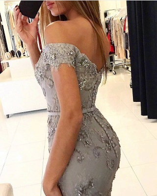 New Silver Evening Dresses Long Lace Cheap Evening Wear Online_3