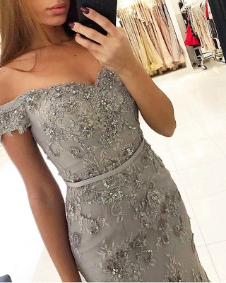 New Silver Evening Dresses Long Lace Cheap Evening Wear Online_2
