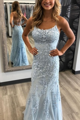 Simple evening dresses long blue | Prom dresses with lace_1