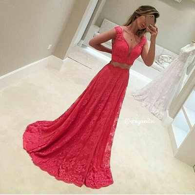 Red Evening Dresses Long With Lace V Neck A Line Prom Dresses_2