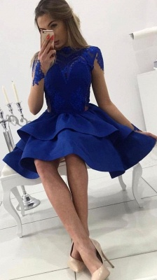 Elegant Cocktail Dresses Short Dark Blue Lace Knee Length Prom Dresses Online_3