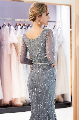 Silver Prom Dresses Long With Sleeves Beaded Prom Dresses Online_6