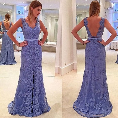 Elegant blue evening dresses long cheap lace prom dresses cheap online_2